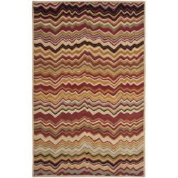 Safavieh Handmade Chatham Zig-Zag Red New Zealand Wool Rug (5' x 8')