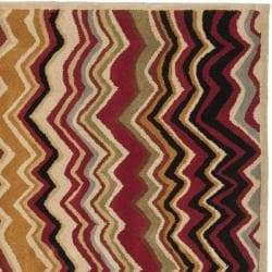 Handmade Chatham Zig-Zag Red New Zealand Wool Rug (7' Square)