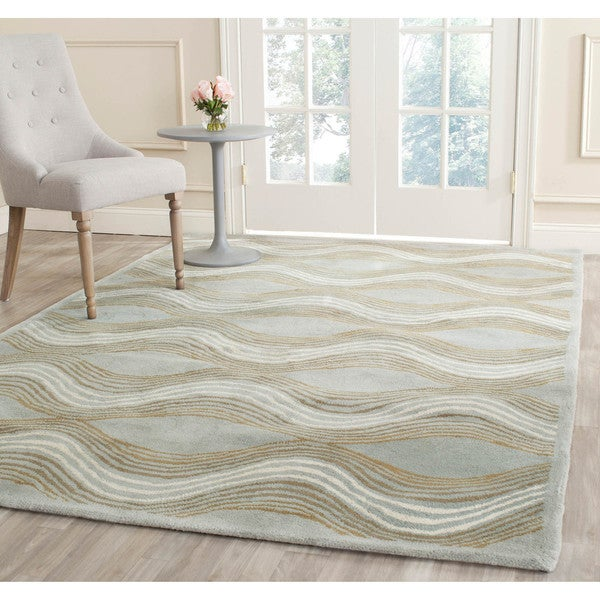 Safavieh Handmade Chatham Waves Blue New Zealand Wool Rug (4' x 6')