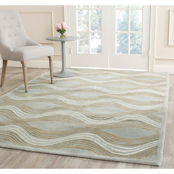 Safavieh Handmade Chatham Waves Blue New Zealand Wool Rug (7' Square)