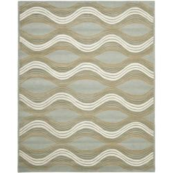 Handmade Chatham Waves Blue New Zealand Wool Rug (8' x 10')
