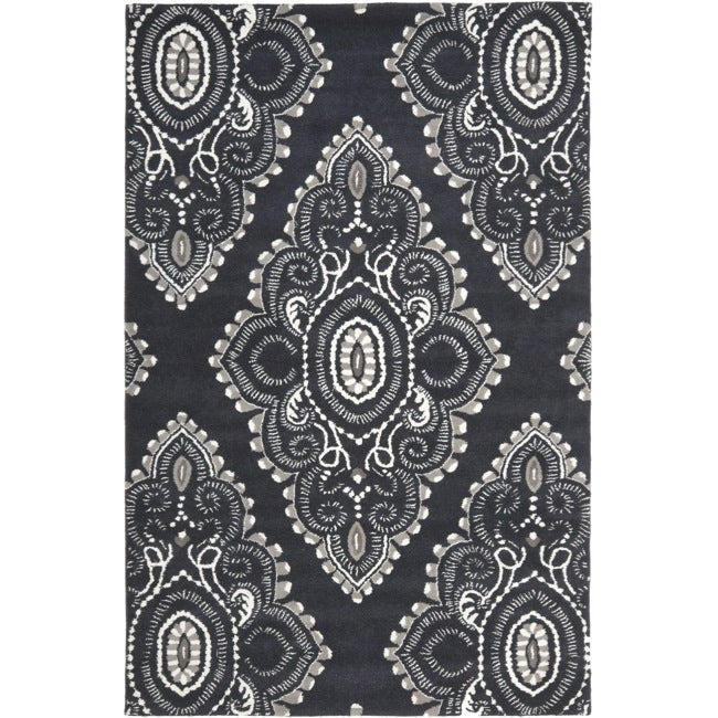 Safavieh Handmade Chatham Mystic Dark Grey New Zealand Wool Rug (8' x 10')