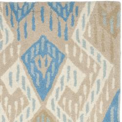 Handmade Chatham Journey Blue New Zealand Wool Rug (2'3 x 9')