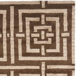 Handmade Chatham Basketweave Brown New Zealand Wool Rug (4' x 6')