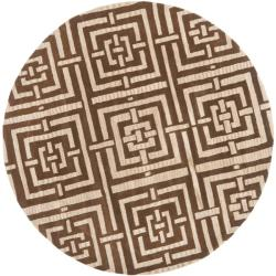Handmade Chatham Basketweave Brown New Zealand Wool Rug (7' Round)