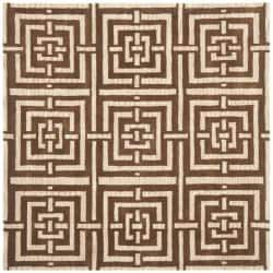 Handmade Chatham Basketweave Brown New Zealand Wool Rug (7' Square)