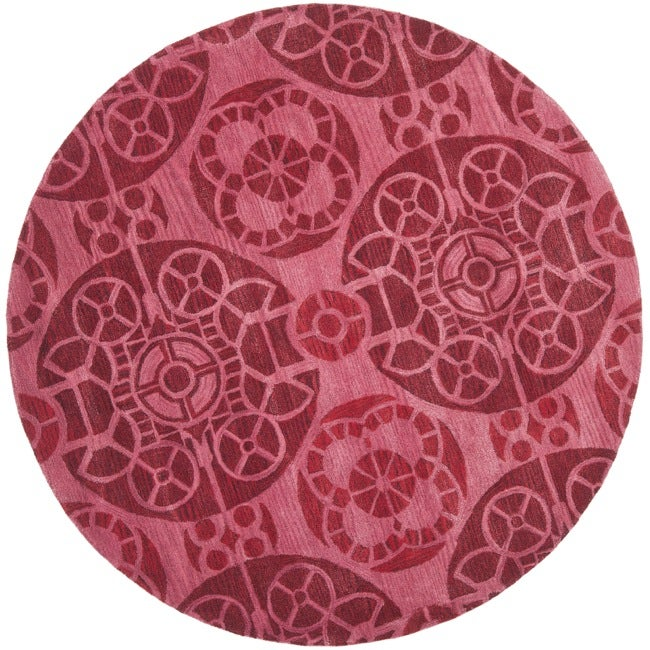 Safavieh Handmade Chatham Treasures Red New Zealand Wool Rug (7' Round)