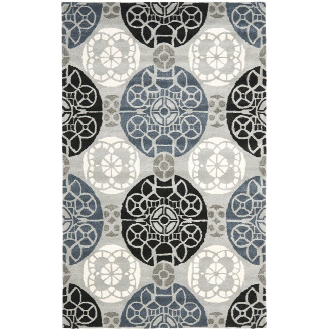 Safavieh Handmade Chatham Treasures Grey New Zealand Wool Rug (5' x 8')