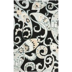 Handmade Chatham Gardens Black New Zealand Wool Rug (5' x 8')