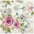 Handmade Chatham Roses Ivory New Zealand Wool Rug (7' Square)
