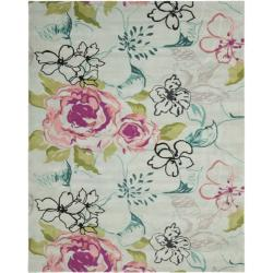 Safavieh Handmade Chatham Roses Blue New Zealand Wool Rug (4' x 6')