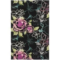 Handmade Chatham Roses Black New Zealand Wool Rug (4' x 6')