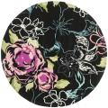 Handmade Chatham Roses Black New Zealand Wool Rug (7' Round)