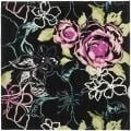 Handmade Chatham Roses Black New Zealand Wool Rug (7' Square)