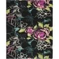 Handmade Chatham Roses Black New Zealand Wool Rug (8' x 10')