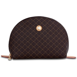 RIONI Signature Large Brown Canvas Cosmetic Pouch
