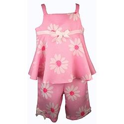 Good Lad Girls' Pink Daisy Capri Pant Set