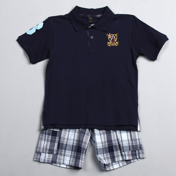US Polo Association Big Boys Navy Polo Shirt and Plaid Shorts Set
