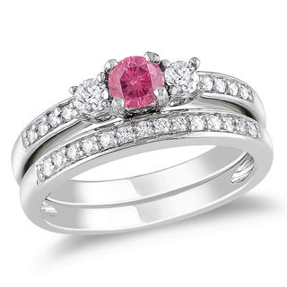 Miadora 14k Gold 1/2ct TDW Pink Color Diamond Bridal Set