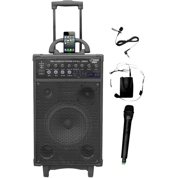 800-Watt Dual Channel Wireless Rechargeable Portable PA System with iPod/iPhone Dock, Radio, Microphones 8856896