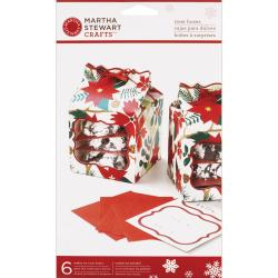 Martha Stewart Woodland Poinsettia 3x3-inch Treat Boxes (Pack of 6)