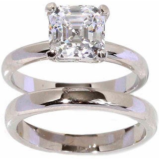 NEXTE Jewelry Silvertone Asscher-cut Solitaire Ring and Band