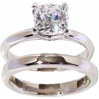 NEXTE Jewelry Silver-tone Cushion-cut Cubic Zirconia Solitaire Ring and Band