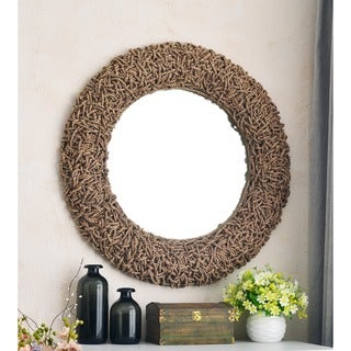 Tethys 32-Inch Natural Material Wall Mirror