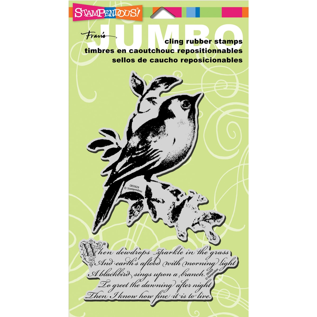 Stampendous 'Songbird' Jumbo Cling Rubber Stamp