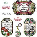 "JustRite Stampers 'Shabby Chic Labels Four"" Cling Stamp Set (Set of 8)"