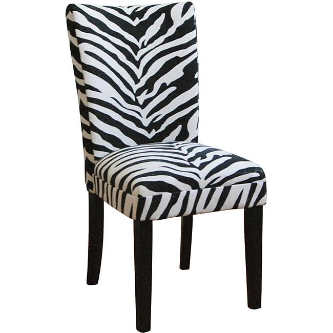 Zebra Print Parsons Chairs Set of 2