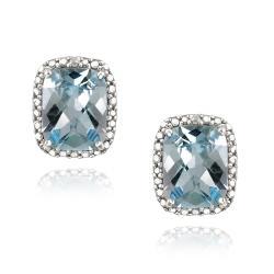 Glitzy Rocks Sterling Silver Blue Topaz and Diamond Accent Earrings (5 1/2ct TGW)