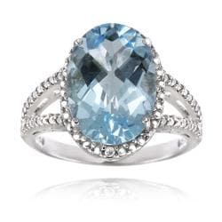 Glitzy Rocks Sterling Silver Blue Topaz and Diamond Accent Ring (5 1/2ct TGW)