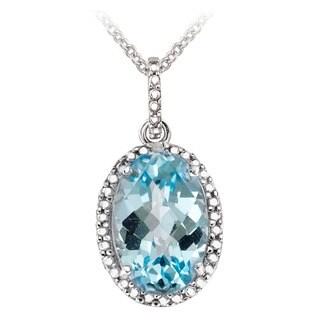Glitzy Rocks Sterling Silver Blue Topaz and Diamond Accent Necklace (4 2/5ct TGW)