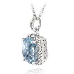 Glitzy Rocks Sterling Silver Blue Topaz and Diamond Accent Necklace (4ct TGW)