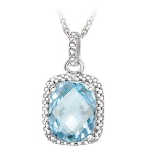 Glitzy Rocks Sterling Silver Blue Topaz and Diamond Accent Necklace (4ct TGW)