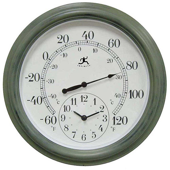 Contra 16-inch Indoor/ Outdoor Sage Green Thermometer with Clock
