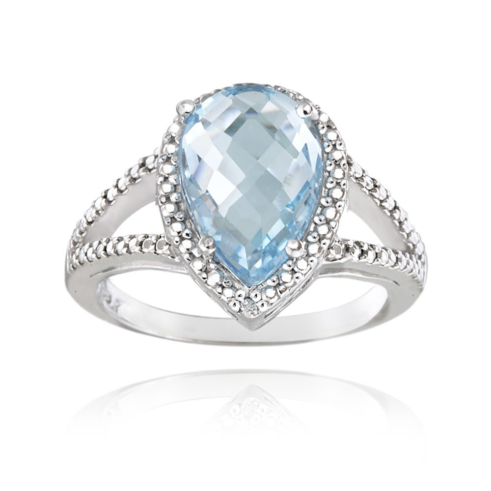 Glitzy Rocks Sterling Silver Blue Topaz and Diamond Accent Ring (3 3/4ct TGW)