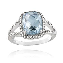 Glitzy Rocks Sterling Silver Blue Topaz and Diamond Accent Ring (4ct TGW)