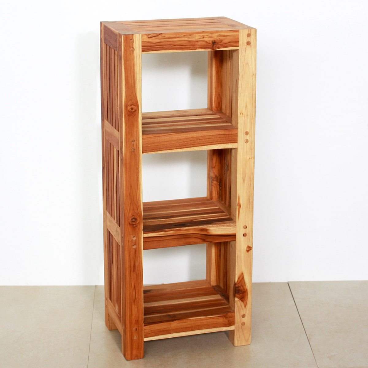 Amazing photo of Teak Wood Shelf Tower (Thailand) 14124008 Overstock.com Shopping  with #B04F1B color and 1200x1200 pixels
