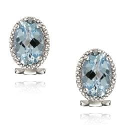 Glitzy Rocks Sterling Silver Blue Topaz and Diamond Accent Earrings (8 7/8ct TGW)