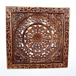 Handmade Light Teak Oil Carved Square Lotus Panel (Thailand)
