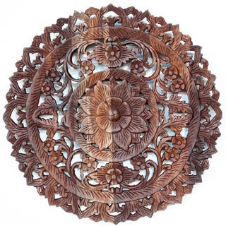 Light Teak Oil Carved Round Lotus Panel (Thailand)