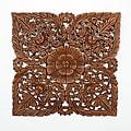Light Teak Oil Carved Square Lotus Panel (Thailand)