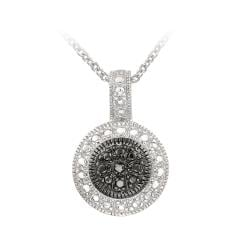 DB Designs Sterling Silver Black Diamond Accent Circle Necklace