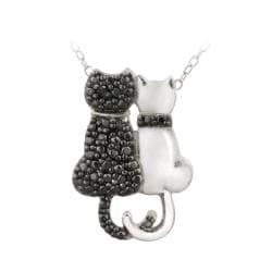 DB Designs Sterling Silver Black Diamond Accent Cat Necklace