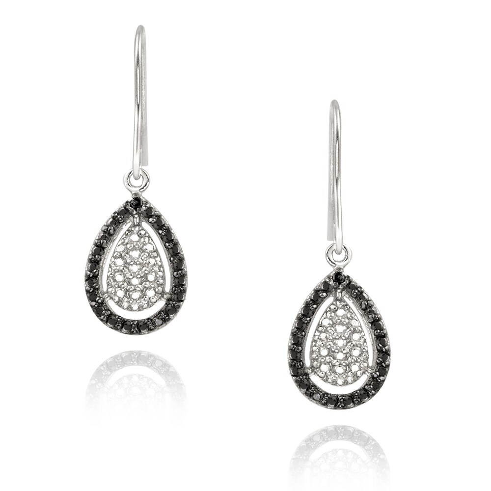 DB Designs Sterling Silver Black Diamond Accent Dangle Earrings