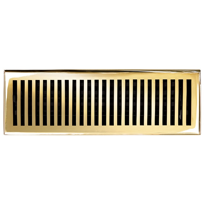 "Brass Elegans Contemporary 4"" x 14"" Brass Decorative Floor Register with Polished and Lacquered Finish"