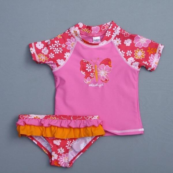 Osh Kosh Toddler Girl's Butterfly 2-piece Rash Guard Swimsuit
