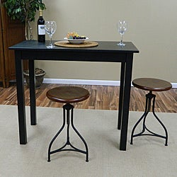 Aurelle Home Industrial Wood And Iron Adjustable Bar Stool